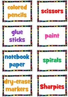 This website has great supply labels and grouping strategies.