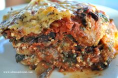 Eggplant No Noodle Lasagna: gluten free eggplant lasagna made with low fat cottage cheese and beet greens; high in calcium, protein, and fiber! Great for healing and an awesome swap for #diabetics #glutenfreelasagna #healthylasagna #glutenfreerecipes #eggplantlsagna #toothfood www.toothfood.com