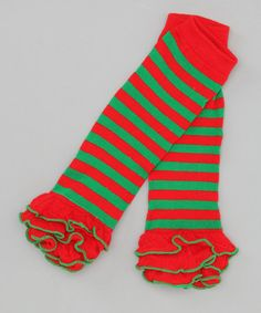 Take a look at this Sue Berk Designs Red & Green Stripe Lettuce-Edge Leg Warmers by Baby's First Christmas Collection on #zulily today!