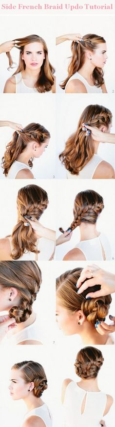Side french braid updo tutorial. I think my hair needs to grow a little more first...