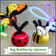 LalyMom: Bug Buddies (Pouch Cap Finger Puppets) a fun little insect craft!
