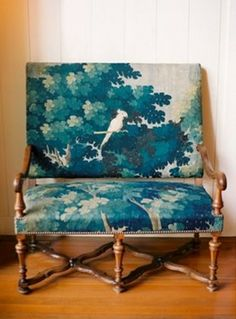 amazing english settee in beautiful peacock blue tapestry fabric/love, love, love it... but don't know where I would put it?  :)