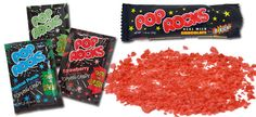 Pop Rocks * A candy first introduced to the public in 1975 from which small amounts of carbonation are released, causing a sizzling sensation in the mouth and a popping noise.