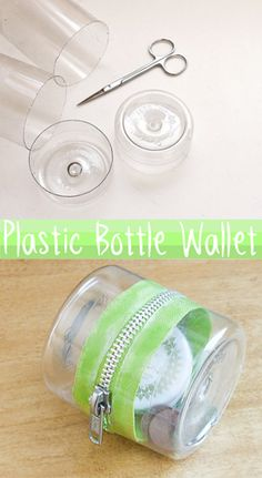 Make this cute wallet/container from the ends of plastic bottles.