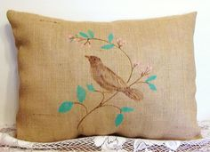 Pair X LG Burlap Pillows Rustic Pair Hand by SimpleJoysDecor, $48.00