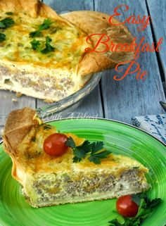 Crispy crust made of layered Tortillas with a hearty filling of Ground Beef and Eggs ~ Breakfast or Dinner ! #BreakfastPie #EasySavoryPie #QuickDinnerPie