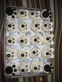 bear cupcak, polar bears, bear parti, cupcakes, birthday parties, food, birthdays, polar bear birthday party, parti idea