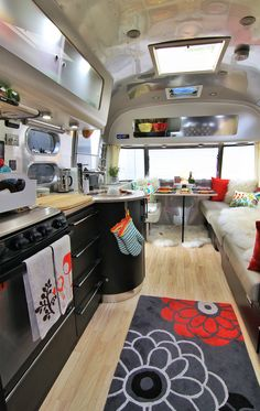 A View of the Airstream inside facing the dinette - THIS is what I will do next year. It will be fun and slightly retro.