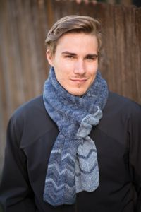 Letterman Scarf - from the Fall 2014 Issue of Love of Knitting magazine  This chevron pattern is easier to achieve than you would imagine. Combined with simple color changes and a sumptuous yarn, it creates an enchanting fabric you'll love nestling into.  Skill level: Easy