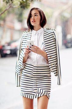 jacket, skirts, girl fashion, fashion styles, outfit, black white, street styles, suits, stripes