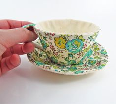 Liberty Textile Teacup Tidy- Apple green Floral on Light Cream