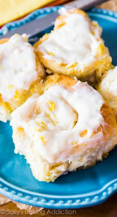 Fluffy & soft lemon sweet rolls covered in a simple lemon cream cheese frosting. These rolls use my quick sweet roll dough!