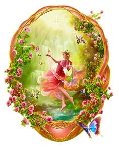 Fantasy Glitter Graphics   .... Flowers ... woman ... fantasy art ... GraphicsGrotto.com