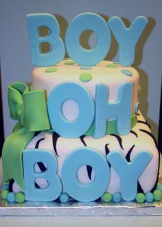 Boy Oh Boy! Modern Zebra Print Baby Shower Cake | Sweet Indulgences Cakes