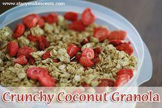 Trim Healthy Tuesday: Crunchy Coconut Granola (E) healthi mama, healthi tuesday, crunchi coconut, coconuts, trim healthi, thm breakfast, coconut flour, thm recip, coconut granola