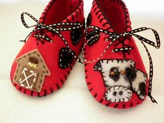 The Farm - Handmade red booties with cow, barn and cowboy hat