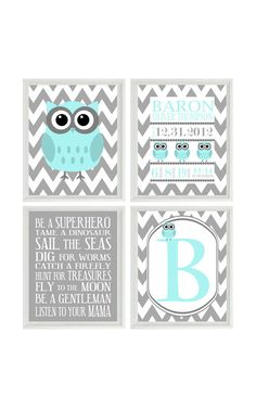 Nursery Art Owl Print Birth Stats - Personalize Baby Name - Owls Gray Aqua - Chevron - Baby Boy Room - Custom Wall Art - Set Of 4 8x10 - on Etsy, $50.00