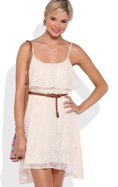 Deb Shops Tribal Patterned High Low Dress with Ruffle Neckline $35.00