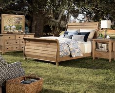 """Solid pine """"Homecoming"""" by Kincaid is eco-friendly and full of farmhouse charm. Click the specs tab to learn what makes this collection good for the earth. sleigh beds, homecoming, new bedroom, bedroom furniture, bedroom sets, bedrooms, vintag pine, master bedroom, pine bedroom"""