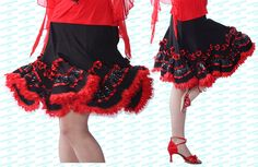 SFS036BK Med Brand New Ballroom Smooth Latin Tango Salsa Swing Dance Dress Skirt #Feier