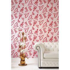 Barbara Hulanicki Flock Shoes Wallpaper in Pink by Graham & Brown