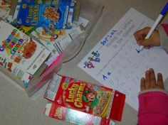 letter search on cereal boxes