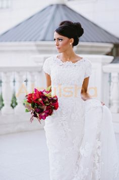 white lace applique sheath wedding dress short sleeves 45 cm chapel train on Etsy, $289.00