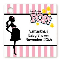 Ready To Pop Pink - Personalized Baby Shower Card Stock Favor Tags