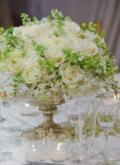 Preston Bailey Centerpieces for White Wedding Reception | Inspirations