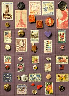 ButtonArtMuseum.com - Interesting Card of 23 Buttons Featuring Postage Stamp Matches
