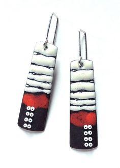 Long Sgraffito Enameled Earrings in Dark Red. $110.00, via Etsy.