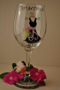 Wedding Wine Glasses Bridesmaid Glass