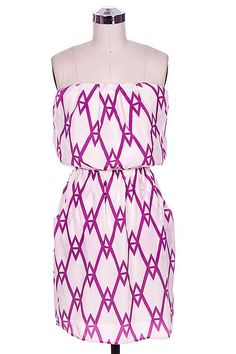 $60 - Purple diamond print tube dress
