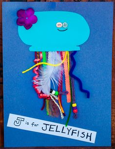 J is for Jellyfish.  We went on a tentacle-worthy-material scavenger hunt and made a few of these.  Lots of fun!