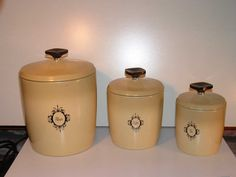 1970 Harvest Gold Aluminum Kitchen Canister Set by Andie83 on Etsy, $15.00