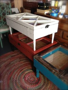 Old Windows repurposed into coffee Tables in red white and blue.....