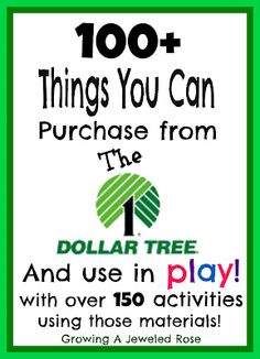 100 Things You Can Purchase from the Dollar Tree and Use in Play with OVER 150 activities using those materials! This post will make you want to run, skip, and jump to the nearest Dollar Tree!
