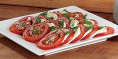Tomatoes, fresh mozzarella, basil  balsamic vinaigrette.  Sooooo good!