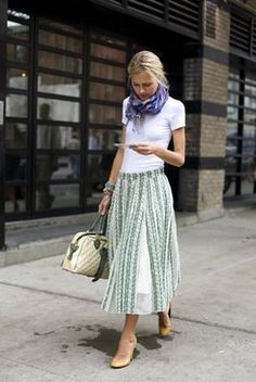 white t shirt with mid-calf skirt and scarf. I love this look the best
