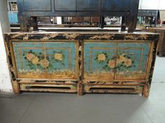 Antique Chinese Storage Credenza in Blue with Floral Motif - Via Etsy