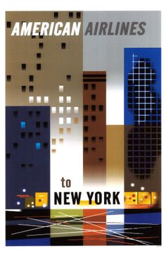 American Airlines to New York #vintage #travel #poster #USA