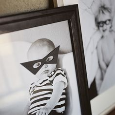 Halloween decor--put eye masks on all your family photos. family pictures, costum, animals, family portraits, family photos, bat mask, famili photo, framed pictures, halloween masks