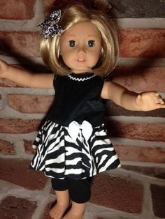 Trendy Zebra Print dress with leggings and hair bow by BittyClothz, $18.00