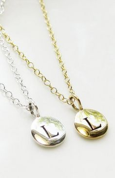 monogrammed necklaces. love these!