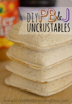 DIY PB&J Uncrustables. I love this concept of an easy, nutritious sandwich on-the-go. I would substitute soft whole wheat bread and high quality PB & J for a healthier option. Via Living Well Spending Less™