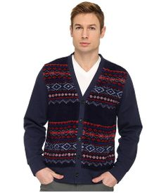 Jack Spade Brodie Fair Isle Sherpa Cardigan Navy - Zappos Couture
