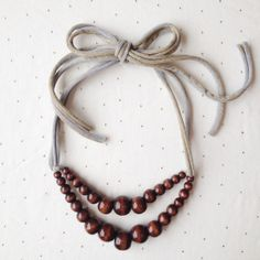 Baby-Friendly Double Strand Adjustable Necklace in Dark Chocolate + Gold Sparkle/Grey