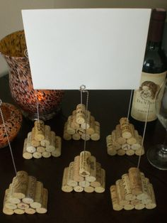 table number holder - wine cork pyramid. Very cool way to re-use corks.