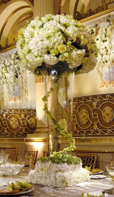 floral screen and dramatic tall centerpiece