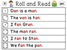 Word families roll and read literacy stations - come in 4 different levels - words and sentences! Perfect for center time!